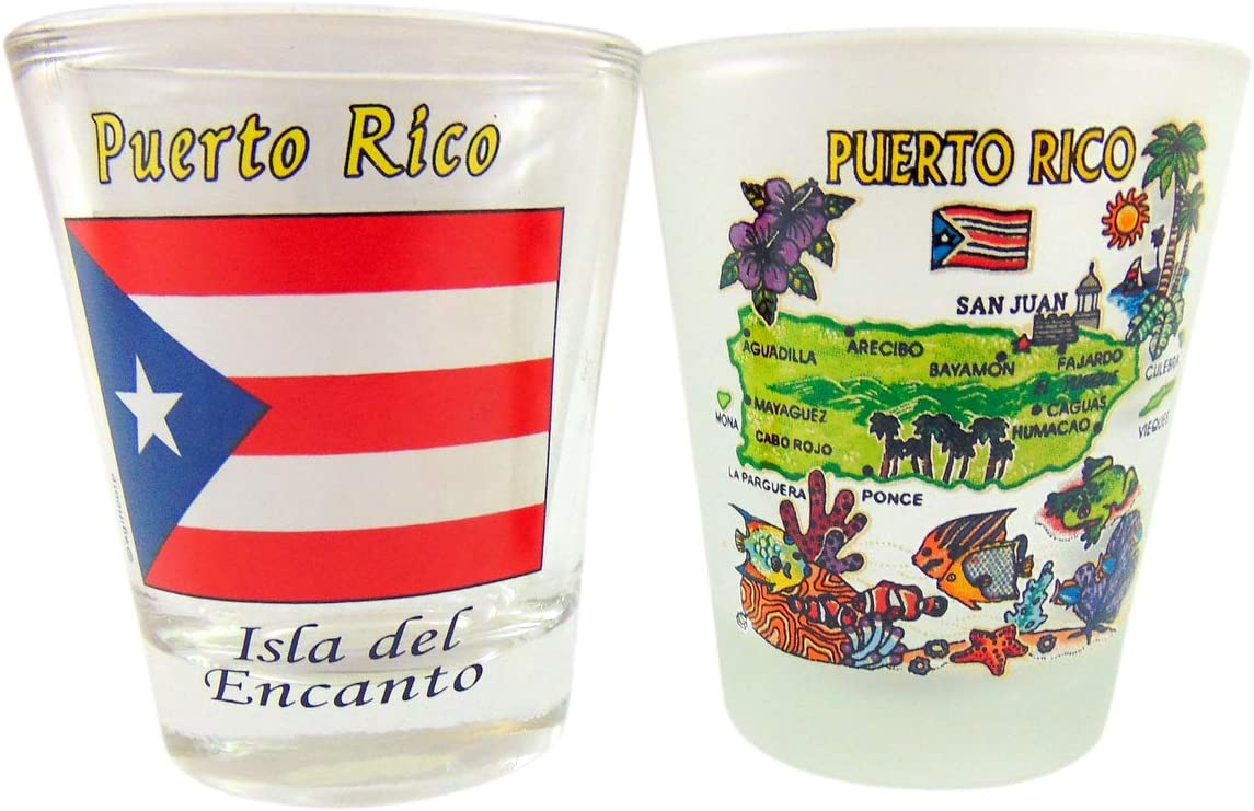 Puerto Rico Shot Glass Pack with Map and Flag Image Souvenir, Set of 2