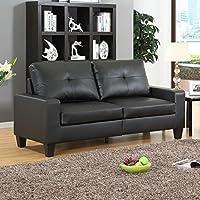 Fernanda Black Faux Leather Sofa