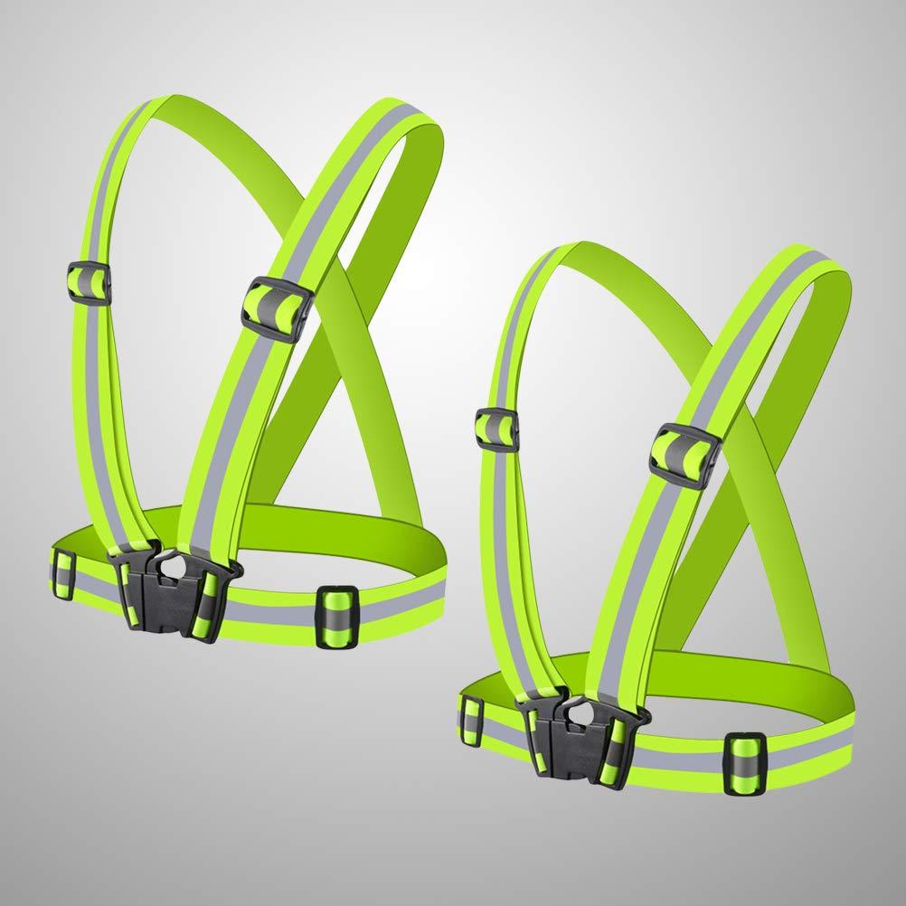 Fluorescent Green STOBOK 2pcs Adjustable Reflective Vest Belt Night Running Vest Strap high Visibility Safety Vest Gear