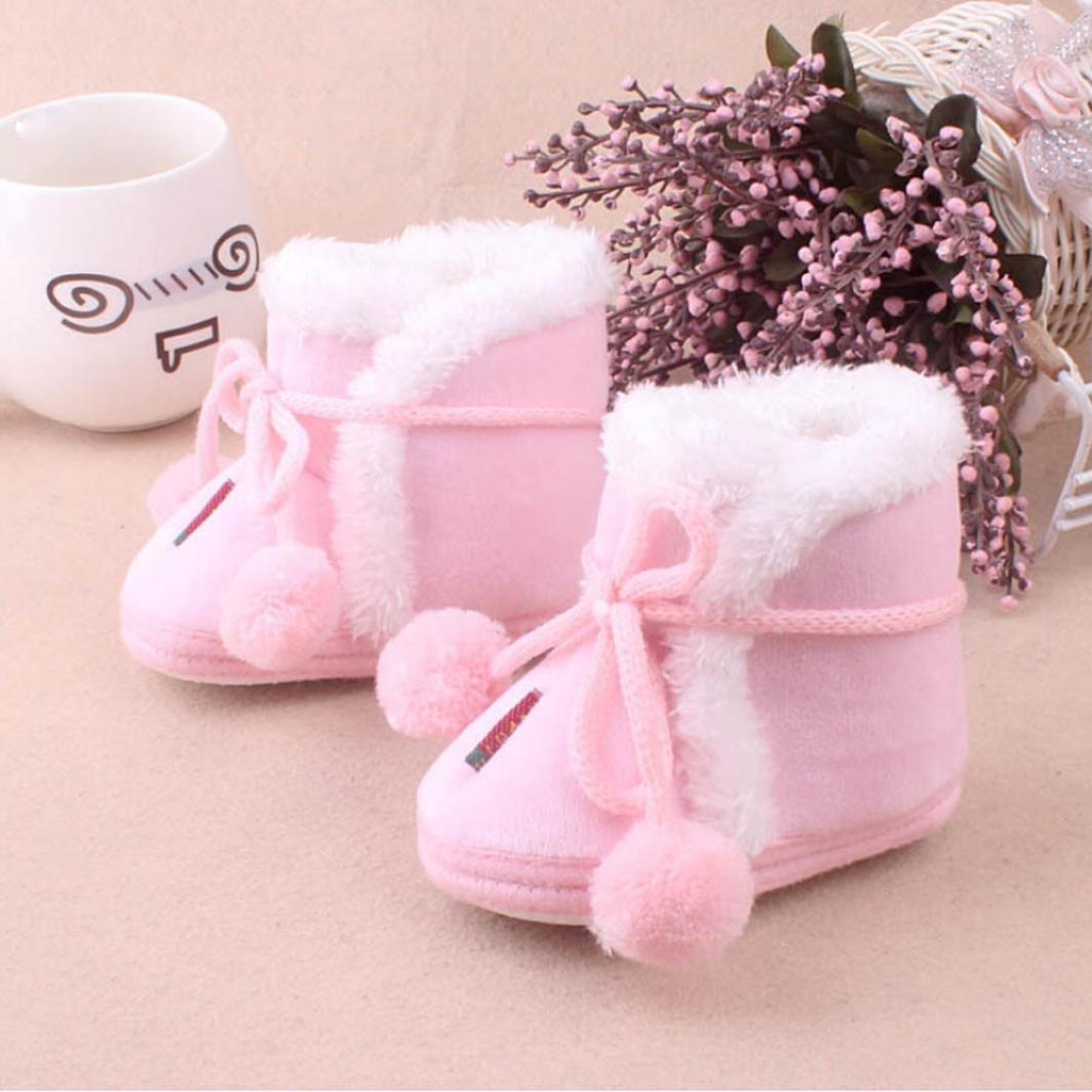Celendi Winter Baby Girls Booties Infant Cute Shoes Winter Warm Lace up Shoes