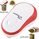 Restaurant Can Opener, BangRui Automatic One Touch Hands Free Can Opener Smooth Edge for Arthritis, Red