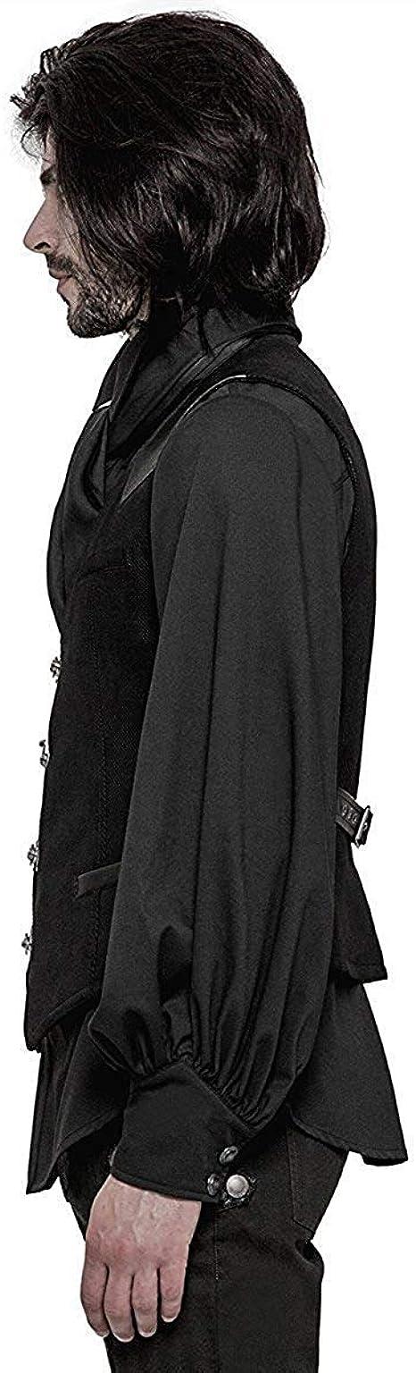 Yiqi Hommes Gilet Gothique M/édi/éval R/étro Gilet de Costume sans Manches Col en V Mode Gilet Mariage Soir/ée Slim Fit Veste Victorien Gothique Steampunk Vintage Classique Veste