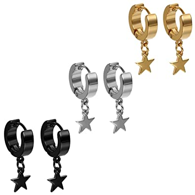 Flongo Pendientes de estrellas, Hombre mujer pendientes de aro acero inoxidable, Pendientes de Hip Hop diseño original 3 pares