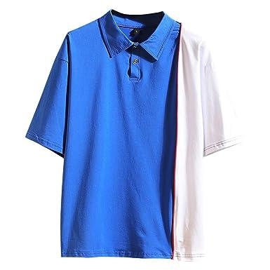 Overdose Camiseta de Hombre Manga Corta Verano Patchwork Moda Pure ...