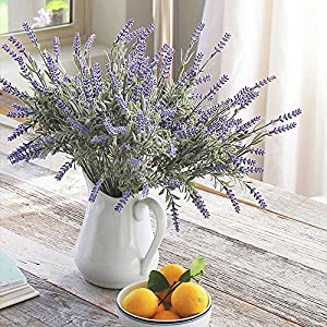 Kaimao 8 Bundles Lavender Bouquet, Artificial Flower with Green Leaves for Home Decor and Wedding Decorations 4