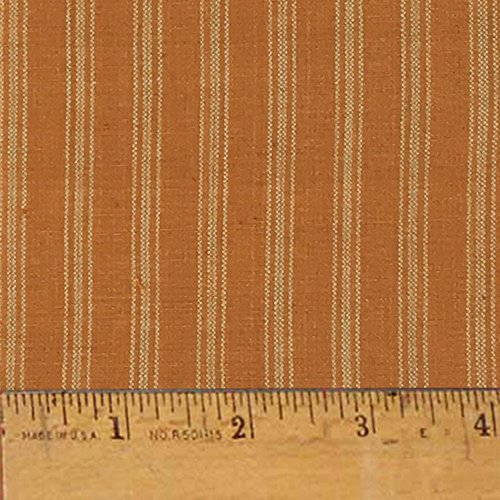 (Pumpkin Spice Ticking Stripe Autumn Homespun Cotton Plaid Fabric by JCS - Sold by The Yard)