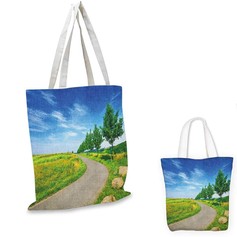 Country canvas messenger bag Pastoral Paint of a Forest in the Spring Time with Fresh Colored Leaves Trees Art canvas beach bag Green Blue 12x15-10