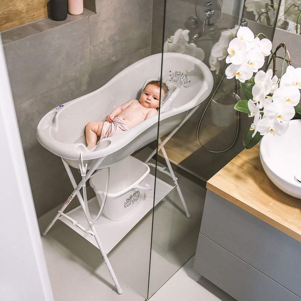 Baby Badewannensitz Ab 0 Monate LUPPEE Anatomischer Babybadesitz Babywannen Sitz mit Anti-Rutsch-Funktion Hund und Katze Blau