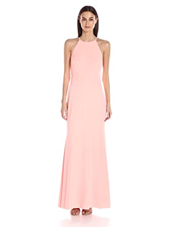 laundry BY SHELLI SEGAL Women's Ruffle Back Gown, Candlelight Peach, 0