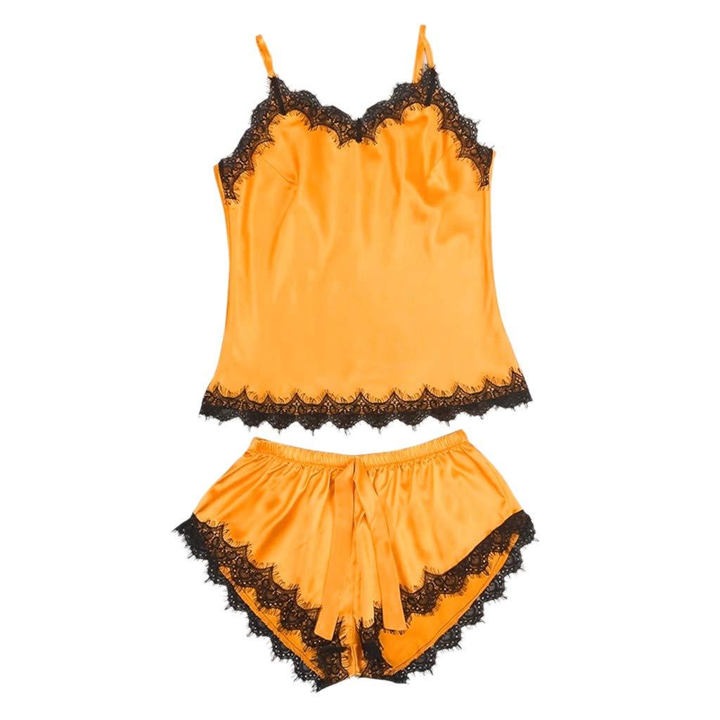 Moserian Women Sleepwear Sleeveless Strap Nightwear Lace Trim Satin Pajama Sets Orange