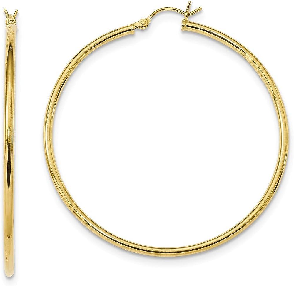 925 Sterling Silver Gold-Tone Polished Hoop Earrings