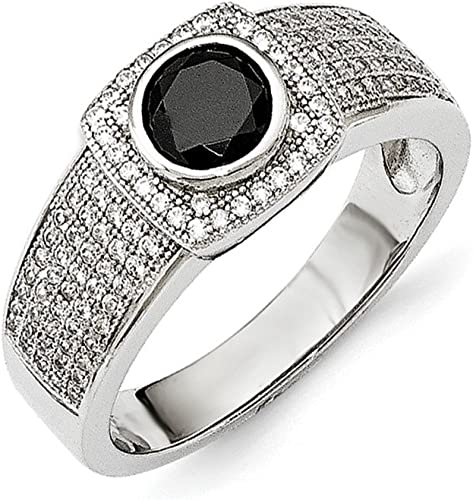 8 925 Sterling Silver Black Spinel Band Ring