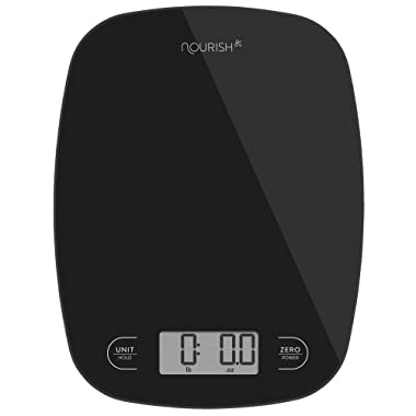 Digital Kitchen Scale/Food Scale from Greater Goods - Extra Battery Included, Ultra Slim, Multifunction, Easy to Clean, Large Display (Black Glass)