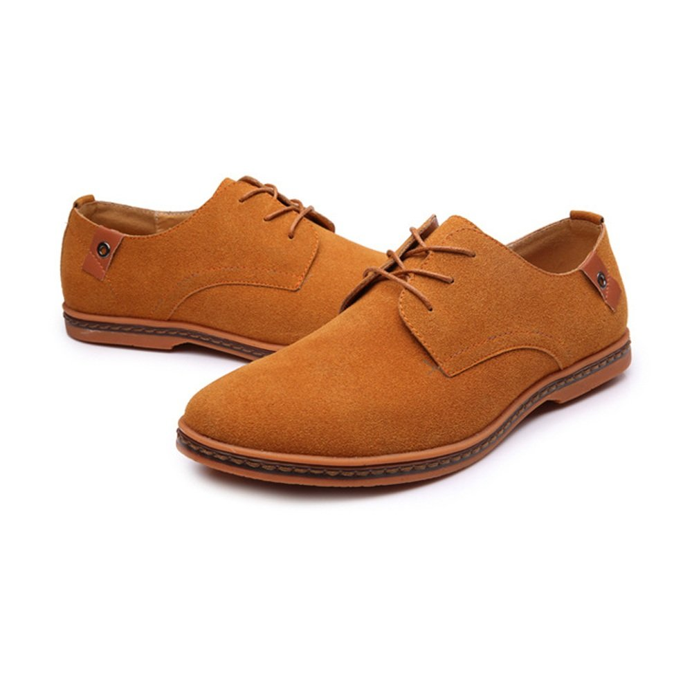 Amazon.com: HONGkeke Mens Casual Lace-up Loafers Shoes Casual Oxfords Microfiber Faux Suede Leather Upper with Large Size Durable (Color : Camel, ...