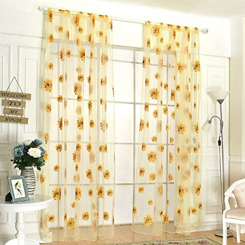 Fenta Door Window Sheer Sunflower Floral Drape Panel Balcony Curtain Scarfs Valances Buy