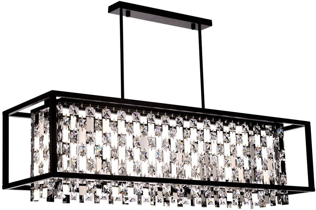 BEIRIO Retro 6-Lights K9 Crystals and Mirror Pendants Kitchen Island Pendant Lights with Black Finish Rectangle Chandeliers for Restaurant Dining Room Living Room (36×12×22.8 inch)