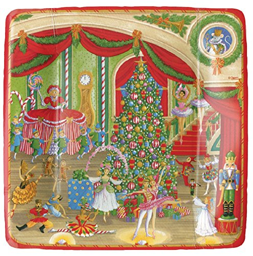 Caspari 13430SP Entertaining Christmas Ballet Salad/Dessert, Plate, Multicolor -