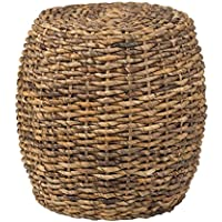 East at Main Merriam Brown Abaca Round Accent Table, (19x19x19)