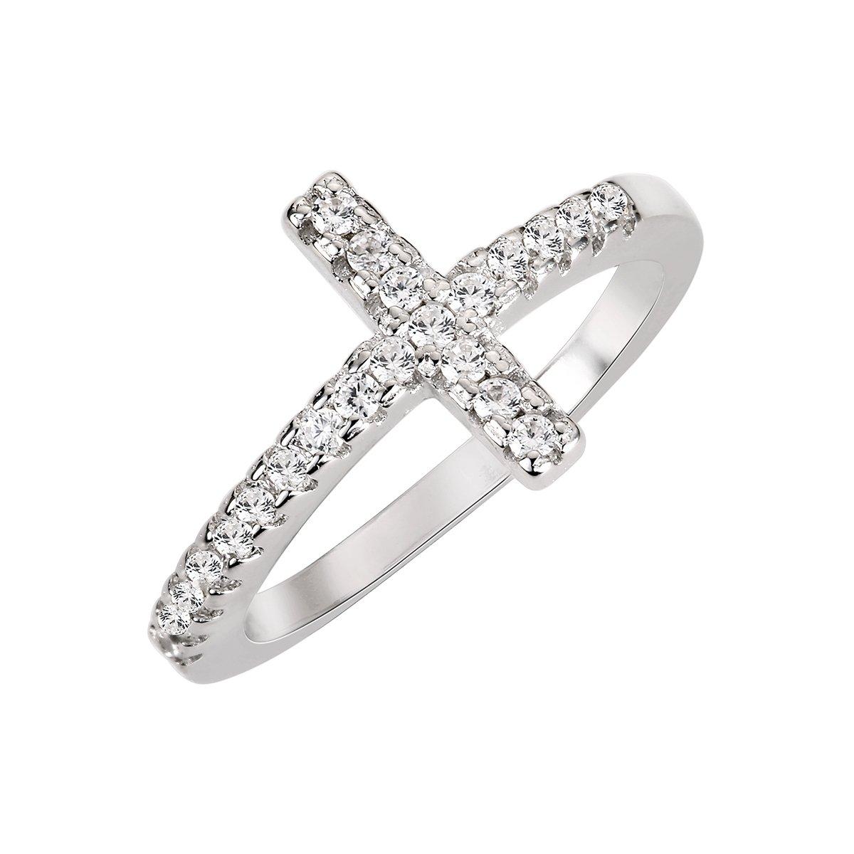 CloseoutWarehouse Cubic Zirconia Christian Sideway Cross Ring Sterling Silver Size 8