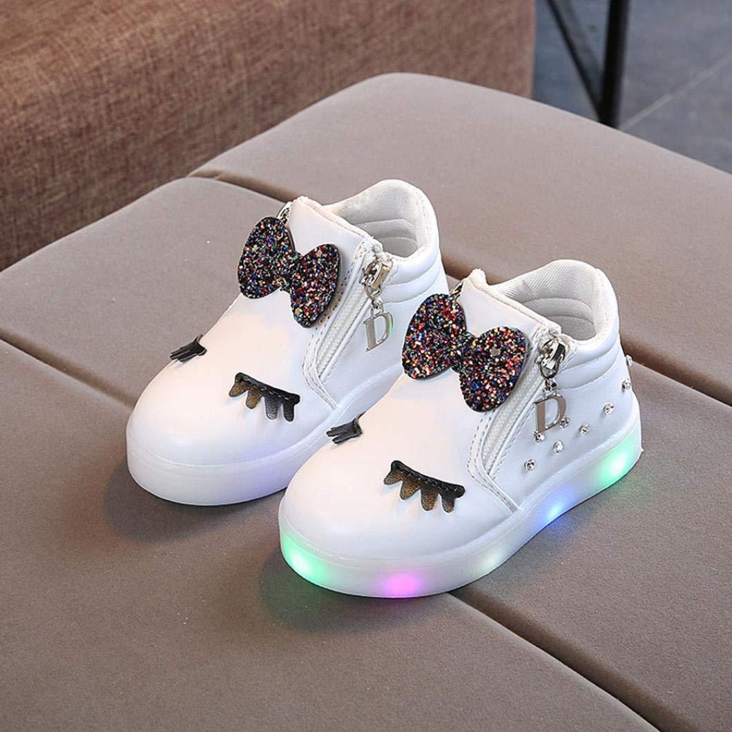 94b02556f Zapatos de bebé, ASHOP Niña Moda Casuales Zapatillas del Otoño Invierno  Deporte Antideslizante del Zapatos Crystal Bowknot LED Botas Luminosas 0-6  Años: ...