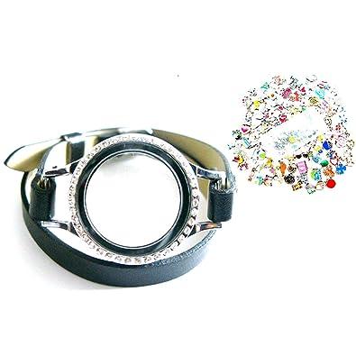 1pcs floaitng locket Bracelet PU Leather Glass Wrist Bands for floating charms