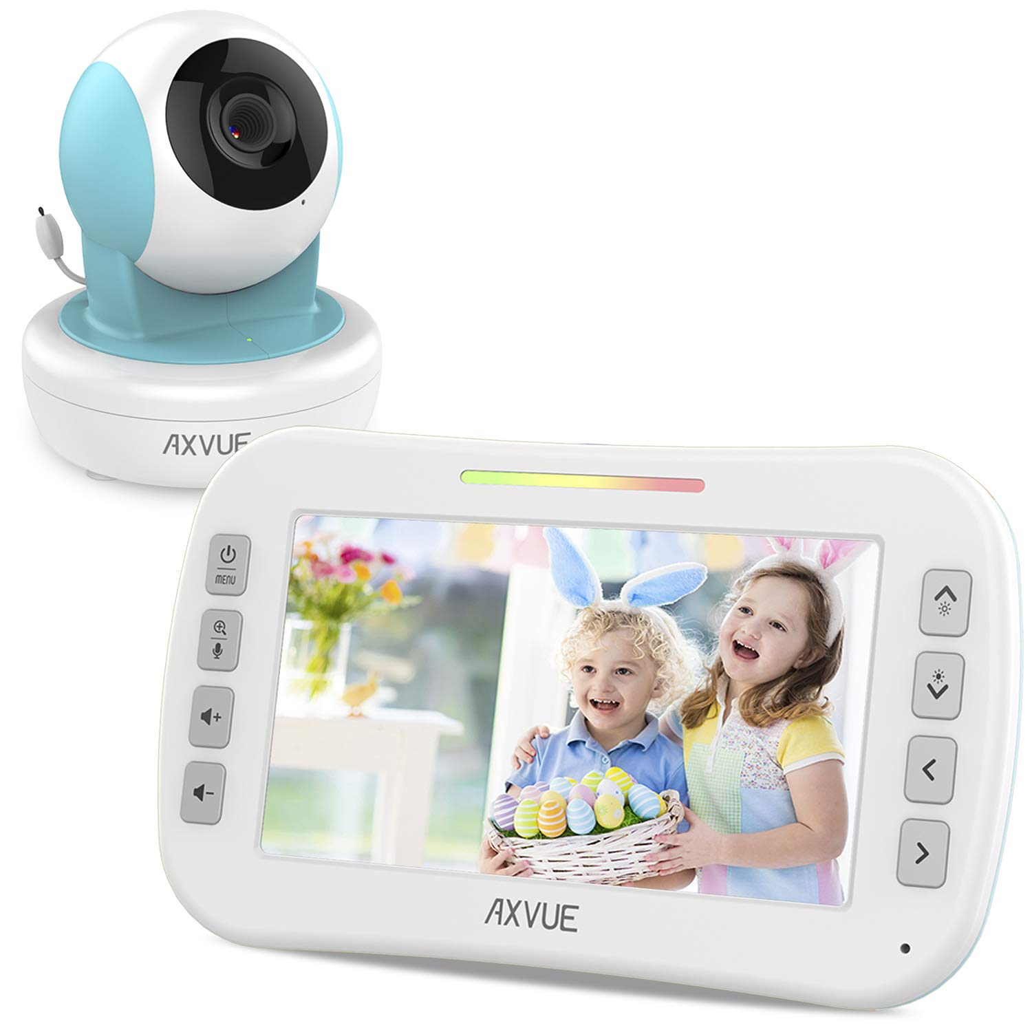 Video Baby Monitor with Remote-Controlled Camera and Clear Large Screen, Two Way Talk, Long Range Connection, No WiFi Needed, Caring for Elder, Home Security Protect by Axvue, Blue, Model E9650-B by AXVUE
