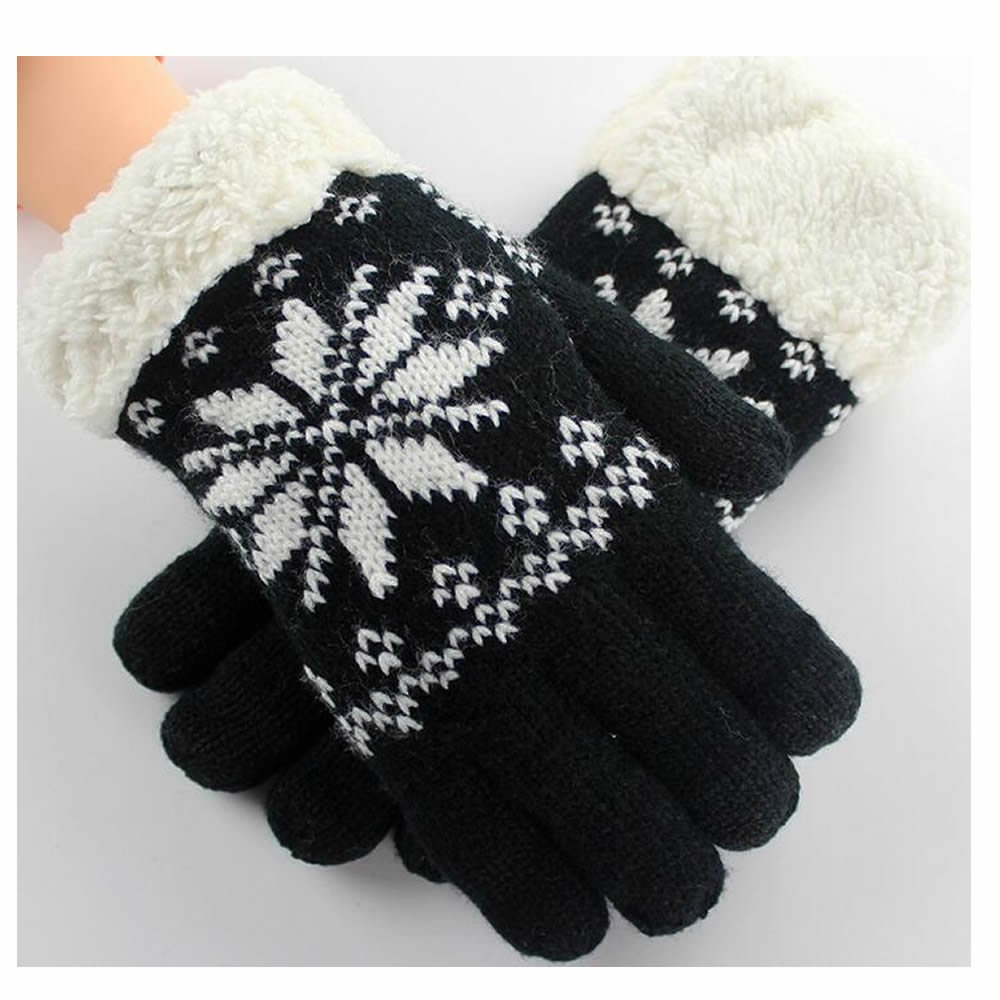 GOOTRADES Wool Knit Snowflake Design Winter Touchscreen Gloves for Women (Black)