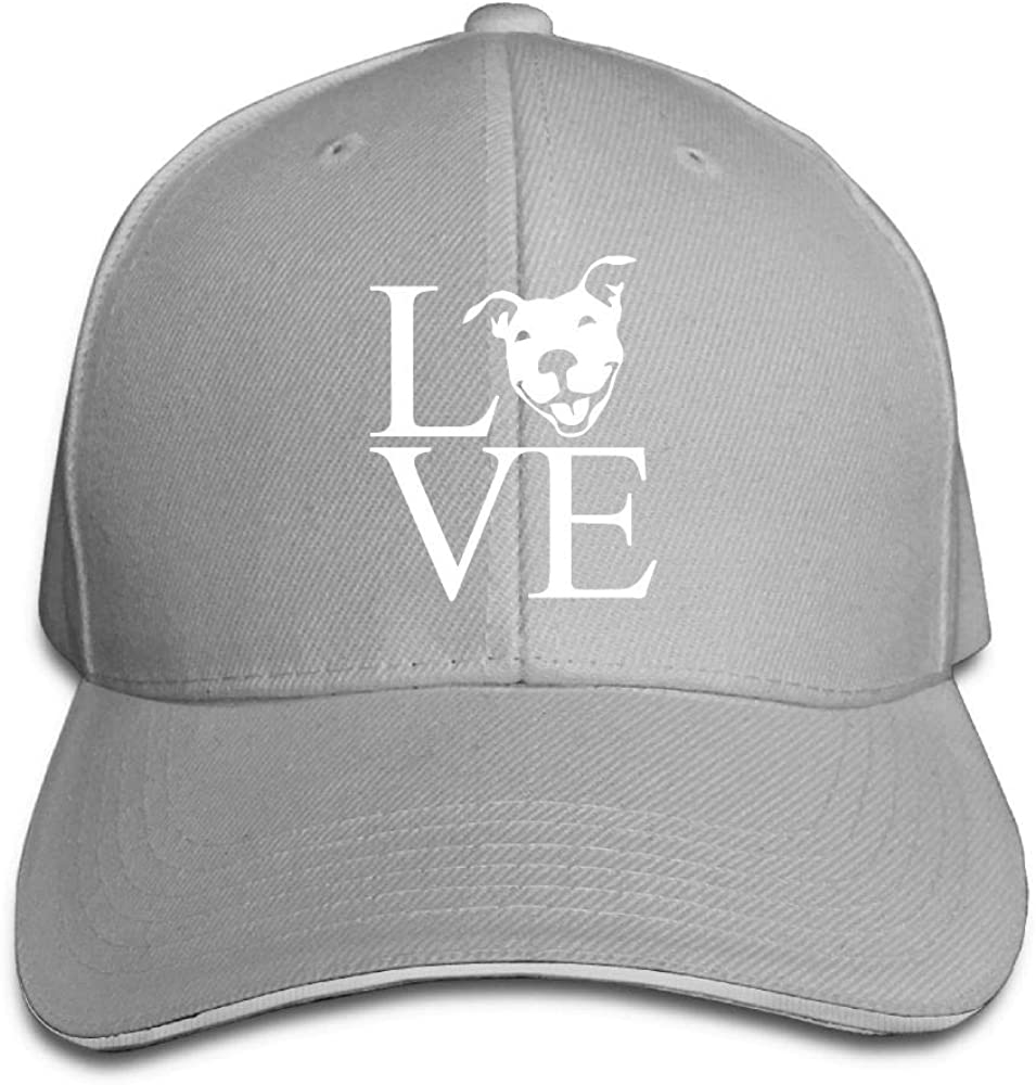 Love Pit Bull Outdoor Snapback Sandwich Cap Adjustable Baseball Hat Trucker Cap