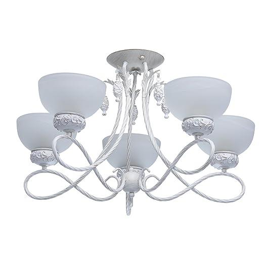 MW-Light 347018605 Lámpara de Techo, Araña, Blanca, Dorada ...