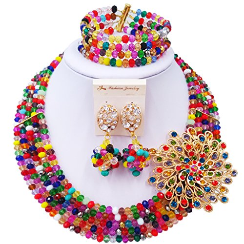 laanc Fashion Lady Jewellery 5 Rows MultiColor Crystal Nigerian Bridel Wedding African Bead Jewelry Sets (Welcome To Halloween Party Song)