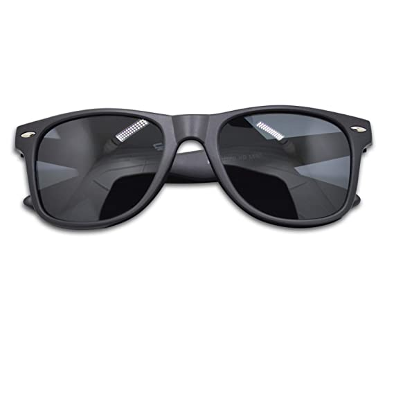 310e45dcf652e4 WHCREAT Herren Unisex Polarisierte Sonnenbrille Federscharnier Matt Rahmen  UV 400 Schutz Linse für Männer Frauen - Matt Schwarz Rahmen Schwarz Linse   ...