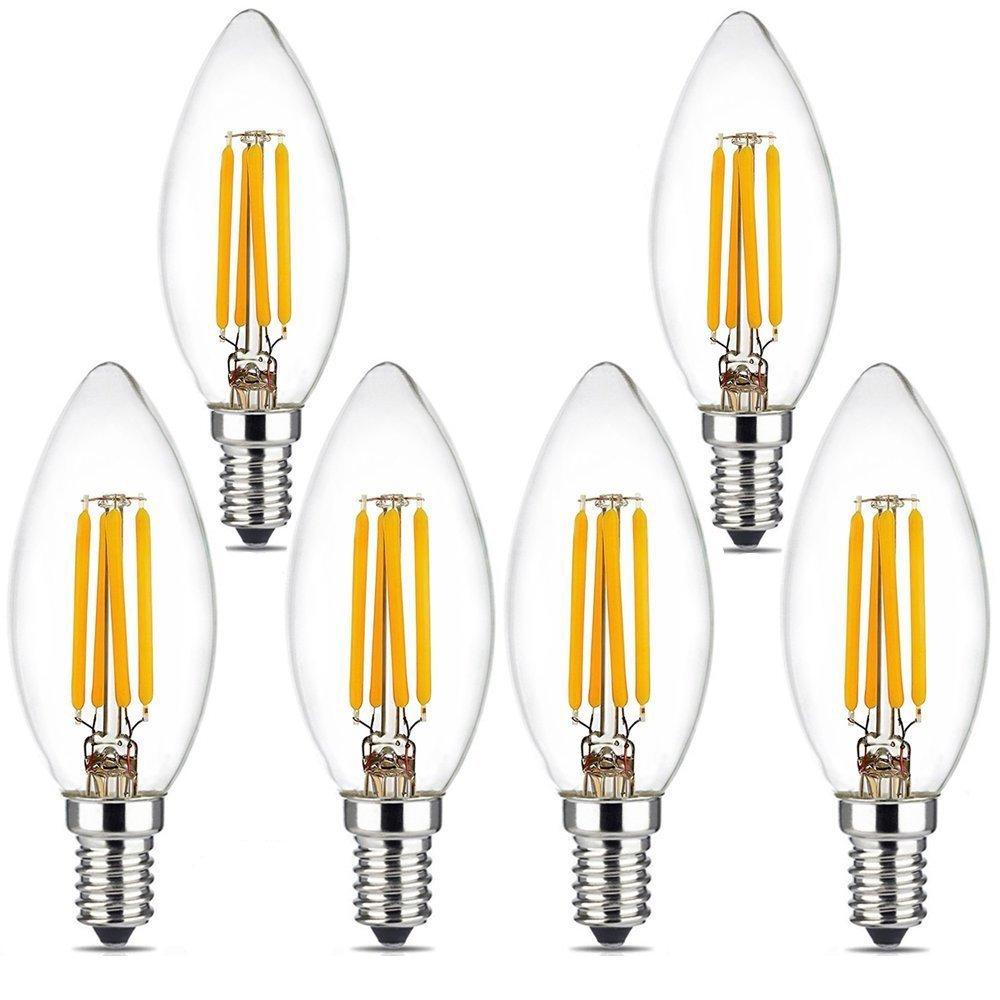 BRIMAX LED Candelabra Bulbs, 4W 2700K Warm White Candle Light Bulbs, 380LM E12 Base Chandelier LED Bulbs, C35 Torpedo Shape Filament Bulb, 25W-40W Equivalent, Indoor&Outdoor Vintage Bulb-6Pack