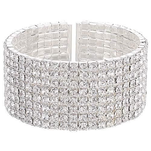- Stylebar Cuff Bracelets for Women Bridal 8 Strand Row Bangle Bracelet for Wedding Brides and Bridesmaids Silver Tone Full Clear Austrian Crystal Rhinestone