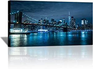 Blue New York City Canvas Wall Art Print Cityscape Brooklyn Bridge Picture Framed Wall Decor NYC Skyline Painting Modern Giclee Artwork for Living Room Bedroom Decoration 24