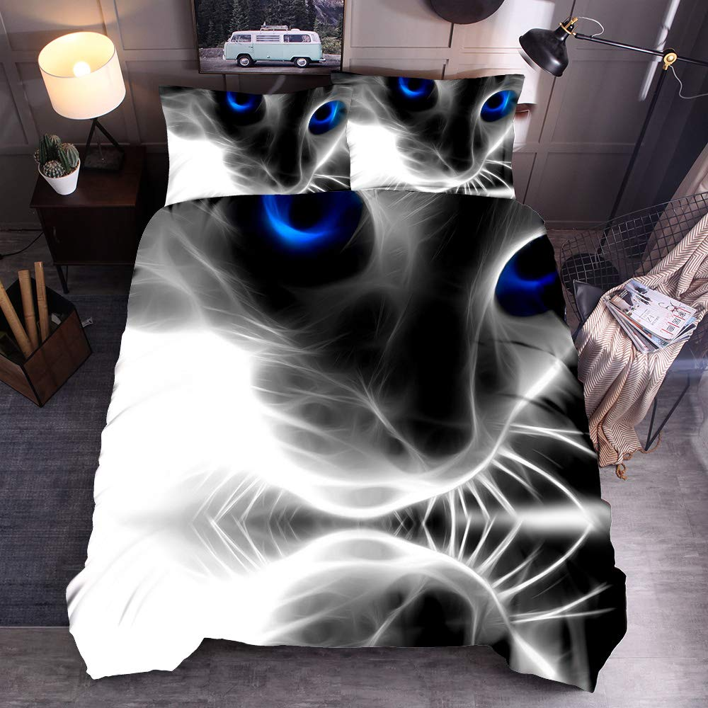 Single NTBED Kids duvet cover Set Single 3D Printed Galaxy Cute Cat and dog with Zipper Closure Single Size 135 * 200cm , Cat 1 135x200cm,no filling no sheet