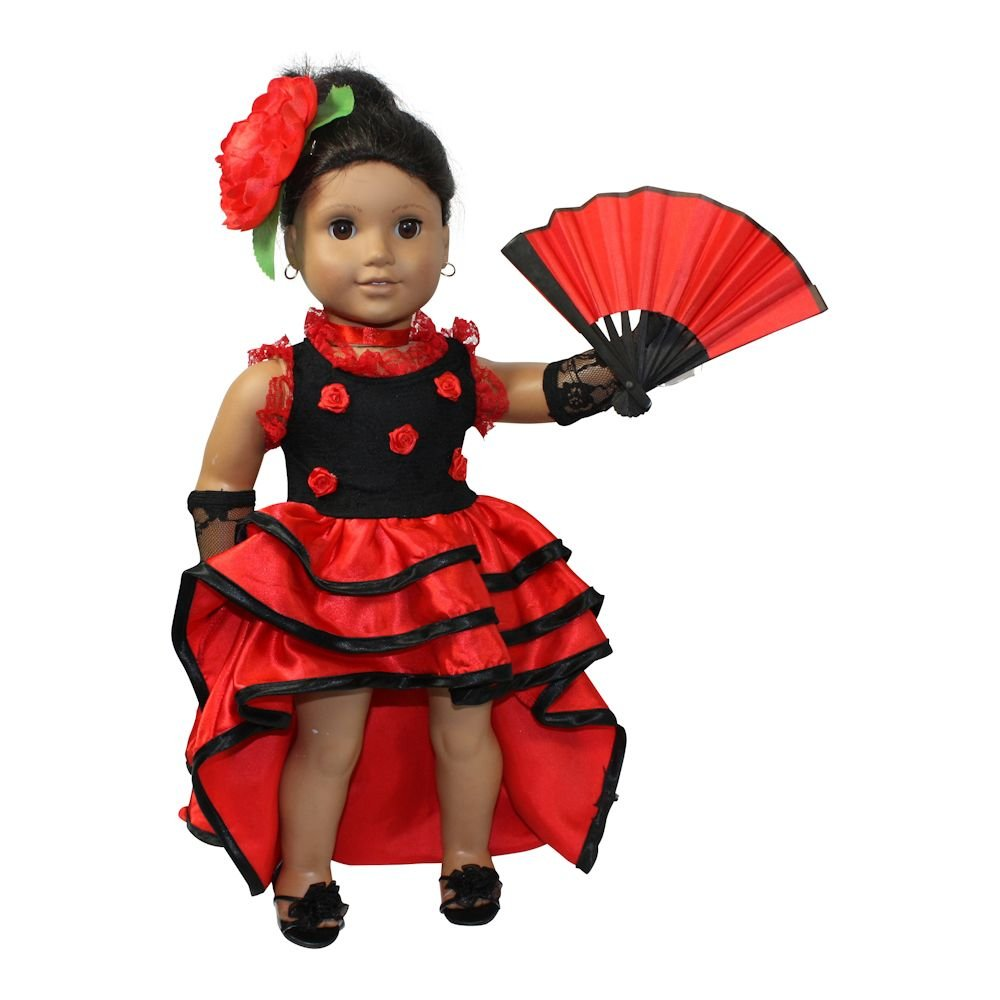 Flamenco ROT dress dress dress 4pcs. 18 inch doll clothes/fits American girl doll by Arianna 0b44d8