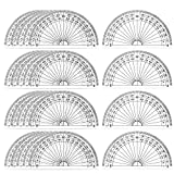 Coopay 24-Pack Plastic Clear Protractors for Maths
