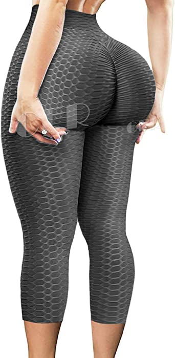Women Anti-Cellulite Yoga Pants Leggings Scrunch Push Up Sport Gym Trouser Capri