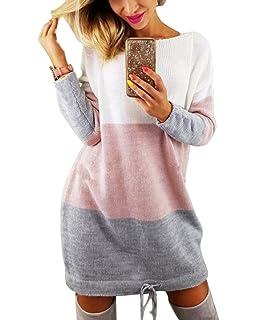 de0006f56f7 Minetom Automne Hiver Femme Pull Robe Col Rond Manche Longue Sweater Mini  Tricot Robe…
