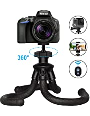 Trípode Flexible Móvil, ZATK Soporte Portátil para Cámara y Teléfono Móvil con Control Remoto Bluetooth, Trípode Compatible con Gopro Nikon Sony Canon y Otros Teléfonos Inteligentes