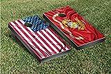 US & USMC Marines Split Rippled Flag Cornhole Game Set