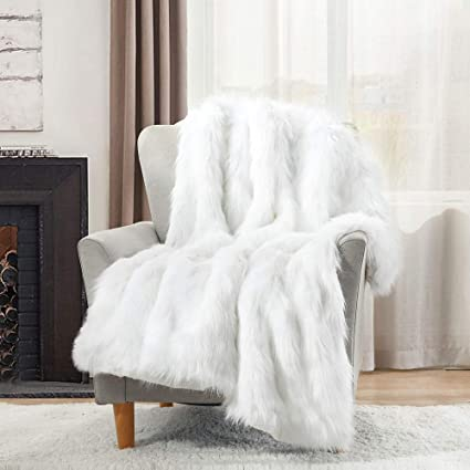 HORIMOTE HOME Luxury Faux Fur Throw Blanket,White High Pile Mixed Throw Blanket, Super Warm, Fuzzy, Elegant, Fluffy Decoration Blanket Scarf For Sofa, Couch And Bed,127x152cm: Amazon.co.uk: Kitchen & Home