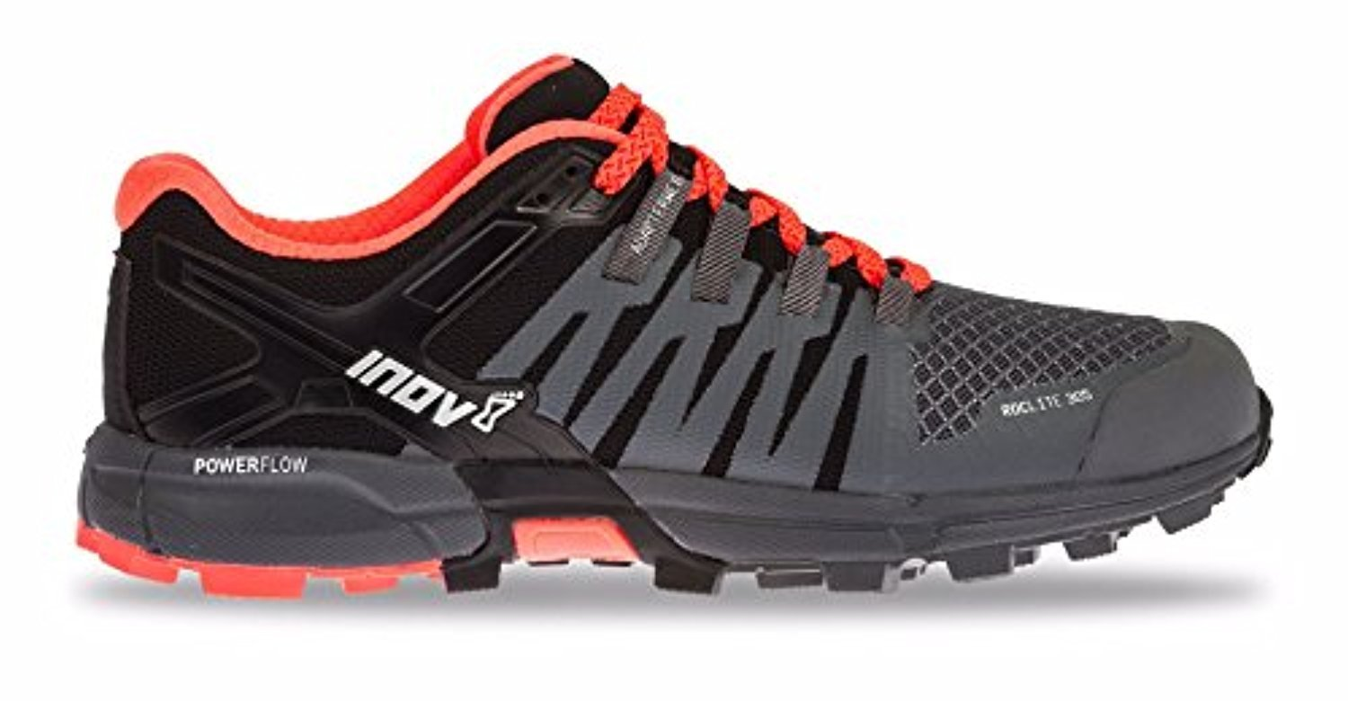 Inov8 Women's Roclite 305 Trail Running Shoes & Workout Headband Bundle B0794346X6 9 B(M) US|Grey / Black / Coral