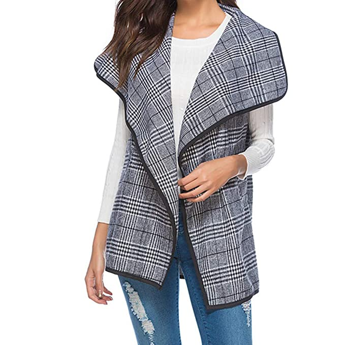 JPOQW-winter Womens Jacket Vest Pocket Plaid Sleeveless Casual Loose Windbreaker Coat at Amazon Womens Clothing store: