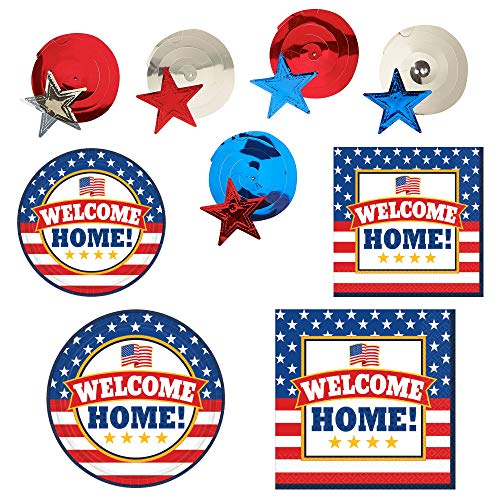 Fun Express Welcome Home Party Bundle | Luncheon & Beverage Napkins, Dinner & Dessert Plates, Star Whirls | Great for Welcoming Family Event, Homecoming Party, Military Retirement, Troop Reunion