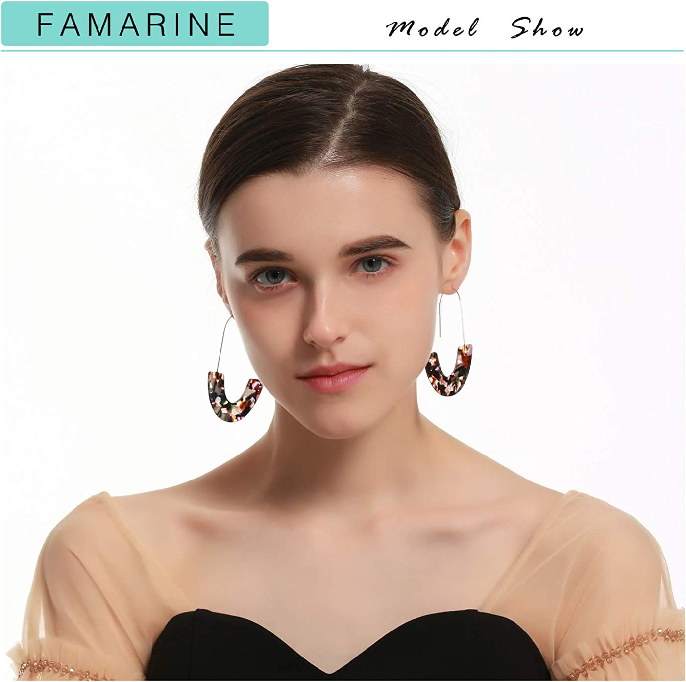 BaubleStar Resin Hoop Earrings with Oval Drop Dangle Fashion Jewelry