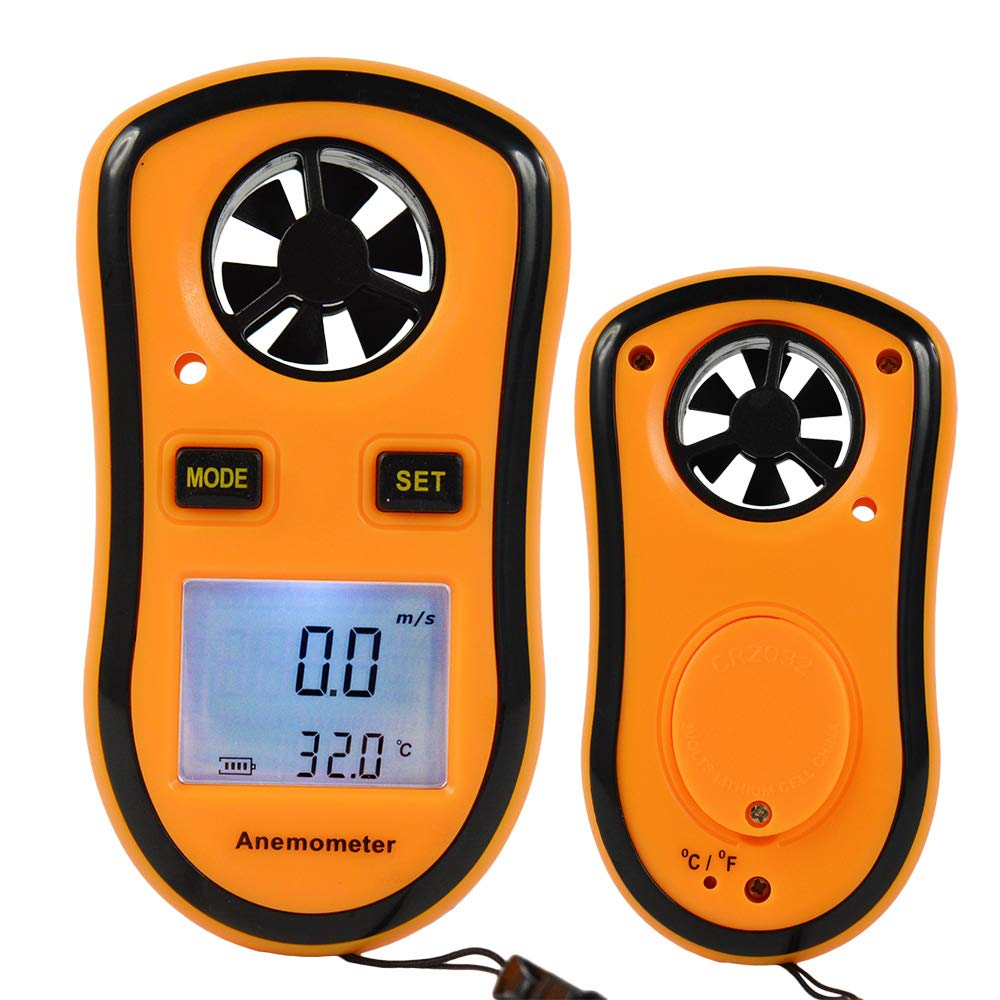 Pocket Digital LCD GM8908 Anemometer Wind Speed Temperature Measure Meter Gauge Air Flow Velocity with Backlight Easy to Read Battery Powered