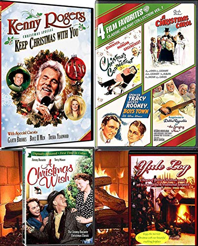 Yule Love These Holiday Favorites Christmas Connecticut Charles Dickens Carol Singing Nun 4-Pack / Boys Town / Hapiness is Debbie Reynolds / Kenny Rodgers Special + Christmas Wish & Fireplace Magic