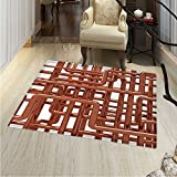 Industrial Area Silky Smooth Rugs Knot of Pipes Complex Design with Entangled Lines Hardware Industry Art Home Decor Area Rug 40''x55'' Bronze and White