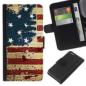 LECELL--Cuero de la tarjeta la carpeta del tirón Smartphone Slots Protección Holder For Apple Iphone 5C -- Vintage grunge EE.UU. BANDERA --